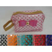 24 Units of Clear Plastic Make-Up Bag [Polka Dots & Bow]