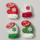 72 Units of Dog Toy Christmas Viny Mitten 4in W/squeaker 4 Colors - Pet Accessories