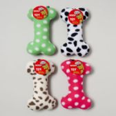 48 Units of Dog Toy Plush Bone With Squeaker 4 Asst In Pdq -hang Tag - PET ACCESSORIES