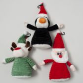 24 Units of Dog Toy Christmas Plush 11.5in W/squeaker 3 Assorted In Pdq Santa, Penguin, Reindeer