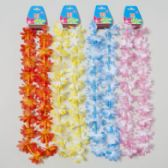 48 Units of Luau Lei Flower W/bead String 34inl Yellow/pink/blue/burnt Org Luau Barbell Card - Costumes & Accessories
