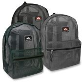 24 Units of 17 Inch Mesh Backpack - 3 Colors - Backpacks 17""