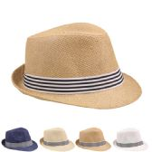 24 Units of ASSORTED COLOR FEDORA HAT WITH STRIPED BLACK AND WHITE BAND - Fedoras, Driver Caps & Visor