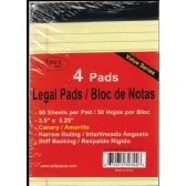 "72 Units of Legal Pads, 3.5""x5.25"", 50 Sheets Each, 4 Pk., Canary - Sketch, Tracing, Drawing & Doodle Pads"