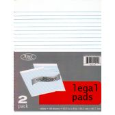 "48 Units of Legal Pads, 8""x10.5"", 2pk, 40 sheets each, White - Sketch, Tracing, Drawing & Doodle Pads"