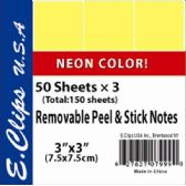 72 Units of Sticky Notes, Neon yellow, 3Pk, 50 shts each - Sticky Note/Notepads