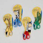 96 Units of Scissors Kids 4ast Animal Prints 5in Stainless Blade Animal Stationery Art/tcd