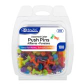 24 Units of BAZIC Assorted Color Push Pins (100/Pack) - Sewing Supplies