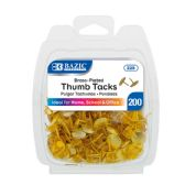 24 Units of BAZIC Brass (Gold) Thumb Tack (200/Pack) - Push Pins and Tacks
