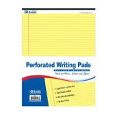 """48 Units of 50 Ct. 8.5"""" X 11.75"""" Canary Perforated Writing Pad - Paper"""