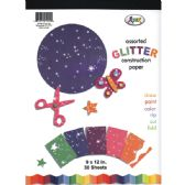48 Units of Glitter Construction Paper Pad, 9x12, 30 sheets