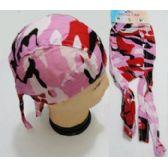 96 Units of Wholesale Skull Caps Motorcycle Hats Fabric Pink Camo Print - Bandanas
