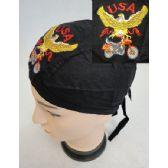 96 Units of Wholesale Skull Caps Motorcycle Hats USA Eagle Bike Embroidery - Bandanas