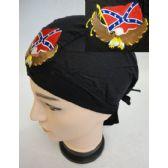 96 Units of Wholesale Skull Caps Motorcycle Hats Eagle Rebel Flag Embroidery - Bandanas