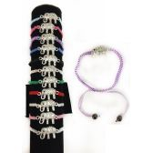 84 Units of Rhinestone Elephant Braided Bracelet Adjustable Length - Bracelets