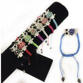 84 Units of Rhinestone Owl Braided Bracelet Adjustable Length - Bracelets