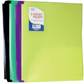 48 Units of Premium Plastic Neon 2 Pocket Folders, 3 Hole Punched - Folders and Report Covers