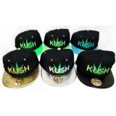 36 Units of Wholesale Snap Back Flat Bill Marijuana Leaf Kush Assorted Colors - Hats With Sayings