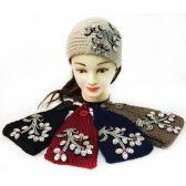 48 Units of Wholesale Rhinestone Flower Knitted Headband - Headbands