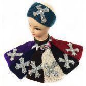 36 Units of Wholesale Small Rhinestone Cross Headband - Headbands