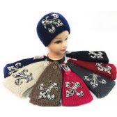 36 Units of Wholesale Rhinestone Fleur de Lis Knitted Headband - Headbands