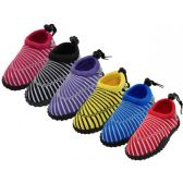 "36 Units of Youth Sea Shell Print ""Wave"" Water Shoes - Women's Aqua Socks"