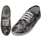24 Units of Women's Canvas Lace Up 3D Gray Rose Print - Women's Sneakers