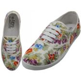 24 Units of Women's Canvas Lace Up White With Multi Colors Floral Print - Women's Sneakers