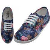 24 Units of Women's Canvas Lace Up Blue 3D Rose Print - Women's Sneakers
