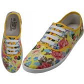 24 Units of Women's Canvas Lace Up Shoes ( *Yellow Floral Printed ) - Women's Sneakers