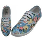 24 Units of Women's Canvas Lace Up Sky Blue Floral Print - Women's Sneakers