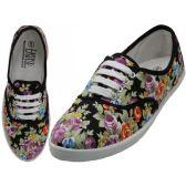 24 Units of Women's Canvas Lace Up Jet Black Floral Print - Women's Sneakers