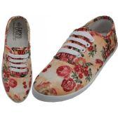 24 Units of Women's Canvas Lace Up 3D Beige Rose Print - Women's Sneakers