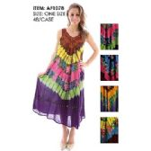48 Units of Wholesale Long Tie Dye Rayon India Made Multicolored Dresses
