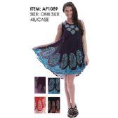 48 Units of Wholesale Paisley Pattern Batik India Made Umbrella Dresses
