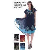 48 Units of Wholesale Umbrella Batik India Made Dresses with Embroideries