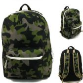 "24 Units of 17"" Padded Backpack In a Green Cmouflage Print"