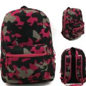 "24 Units of 17"" Padded Backpack In a Girly Camouflage Print"