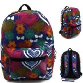 "24 Units of 17"" Padded Backpack In a Multi Color Flower and Heart Print"