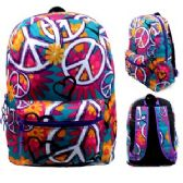 "24 Units of 17"" Padded Backpack In a Popular Peace Print"
