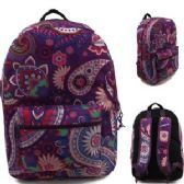 "24 Units of 17"" Padded Backpack In a Pretty Purple Paisley Print"