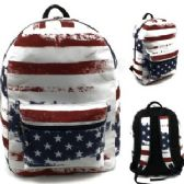 "24 Units of 17"" Padded Backpack In a USA Inspired Print"