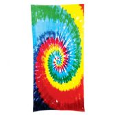 24 Units of Tie Dye Beach Towel - Rainbow - Beach Towels