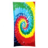 24 Units of Tie Dye Beach Towel - Rainbow
