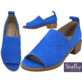 "12 Units of Women's Blue Suede Slip on Open Toe Sandals With 1 1/2"" Heel By Shellys London"