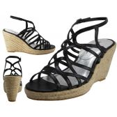 "18 Units of Women's Trappy With 3 3/4"" Wedge Buckle Strap Sandals (Black Color Only)"