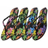 Wholesale 48 Units of Woman's Printed Floral Flip Flops