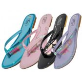 Wholesale 36 Units of Women's Embroidery Sequin Flip Flops ( Assorted Colors )