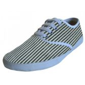 24 Units of Women's Striped Canvas Shoes - Womens Shoes/ Flats