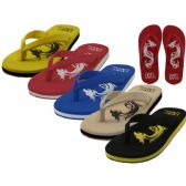 36 Units of Men's Dragon Embossed Thong Sandals